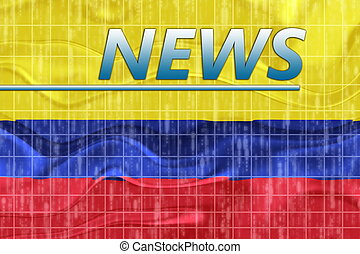 Flag of Colombia wavy news - News information splash Flag of...