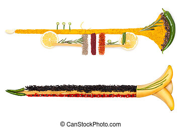 The brass of diet - A colourful photo of the trumpet made of...