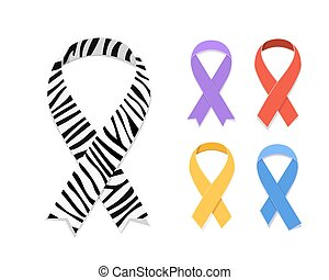 Set of awareness ribbon symbol concept. Vector flat...