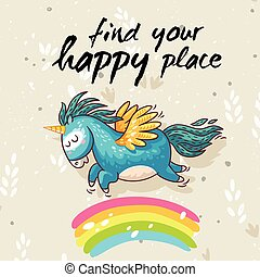 Happy card with cute unicorn. Vector cartoon illustration -...