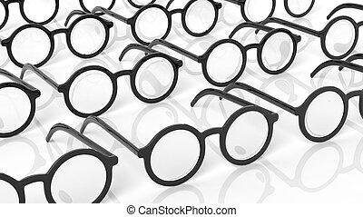 Black round-lens eyeglasses, isolated on white background.