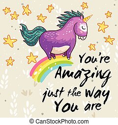 Amazing card with cute unicorn Vector cartoon illustration -...
