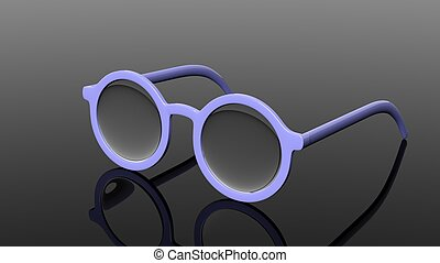 Pair of blue round-lens eyeglasses, isolated on black...