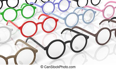 Various color round-lens eyeglasses, isolated on white...