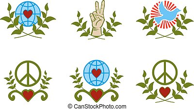 Peace sign - Set of peace sign with branch