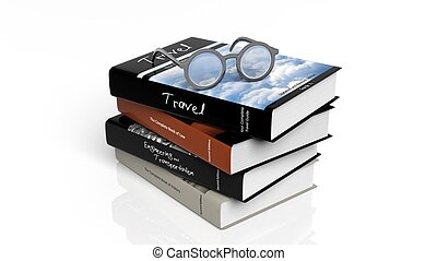 Eyeglasses set on stack of books,isolated on white background.