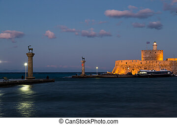 Mandraki Harbour, Rhodes Greece