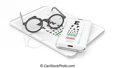 Eyeglasses, tablet and smartphone with eyesight test on...