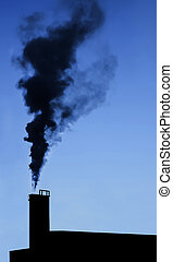 Industry chimney silhouette - Dramatic industry chimney...