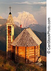 mount Col DI Lana with chapel and Monte Pelmo - Evening view...
