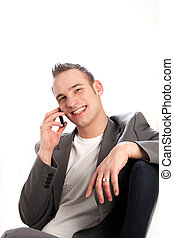 successful businessman with a phone