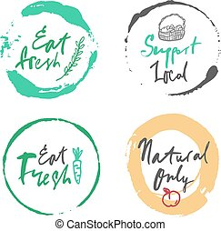 Vector natural food label set - Vector labels of fresh...