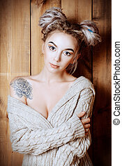 braids hairstyle - Beautiful young woman with dreadlocks...