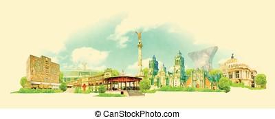 vector watercolor MEXICO city illustration