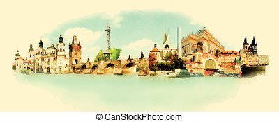 vector watercolor PRAGUE city illustration