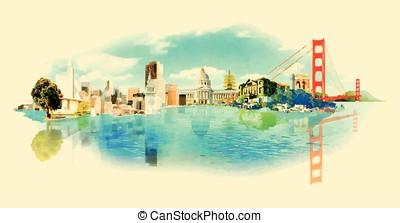 vector watercolor SAN FRANCISCO city illustration
