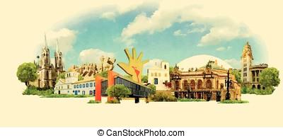vector watercolor SAO PAULO city illustration