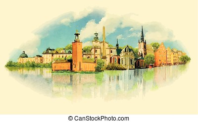 vector watercolor STOCKHOLM city illustration