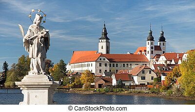 Telc or Teltsch town with statue of st. John of Nepomuk -...