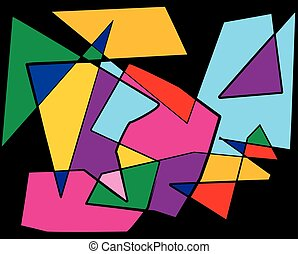 Colorful Cubism Abstract Illustration - A colorful abstract...