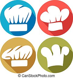 chef hat flat icons