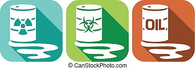 pollution flat icons set - barrels with nuclear waste,...