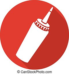tomato ketchup bottle flat icon