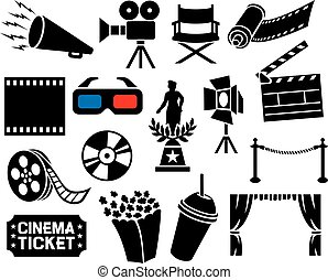 cinema icons collection film strip, popcorn, cinema...