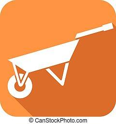 garden metal wheelbarrow flat icon