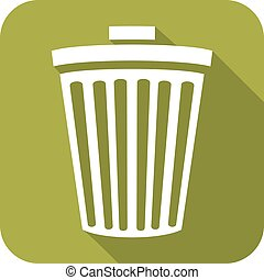 recycle bin flat icon (wastebasket icon)