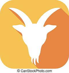 goat head flat icon (goat zodiac sign)