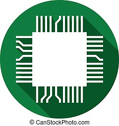 computer microchip flat icon (electronic component symbol)