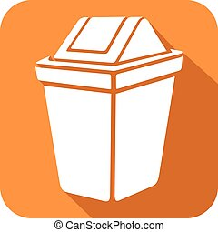 recycle bin flat icon (waste recycle can sign)