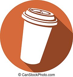 paper cup of coffee flat icon take-out coffee, coffee in...