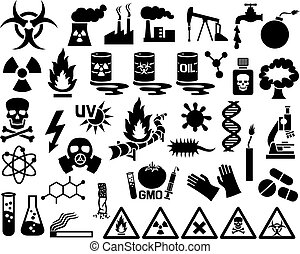 hazard, pollution and danger icons set barrels with nuclear...