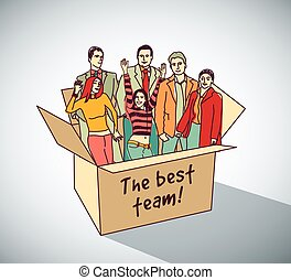 Best business team group people in box