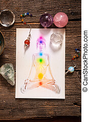 Chakras over a human body - Chakras illustrated over human...