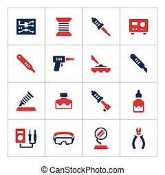 Set color icons of soldering isolated on white Vector...