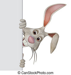 Easter bunny with a blank textarea - 3d illustration,...