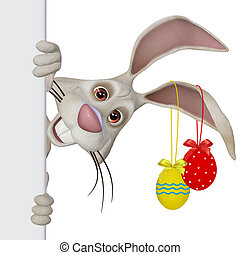Easter bunny closeup - 3d illustration, isolated on the...