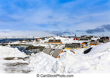Historical center of Nuuk - the capital of Greenland