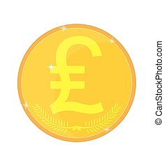 Coin with the image of lyre, vector illustration