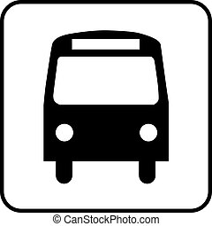 Pictogram Bus - a black and white icon of a bus stop or a...