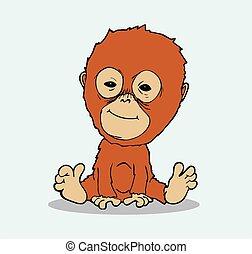 bebé, orangután, caricatura, vector,