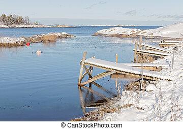 Small wodden bridges in the wintry archipelago