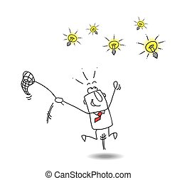 Catch ideas - A businessman runs after light bulbs. It's a...