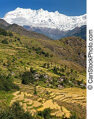 Beautiful village in western Nepal with Dhaulagiri Himal