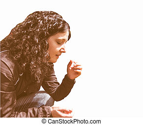 Brunette coughing vintage - Pretty young brunette girl...