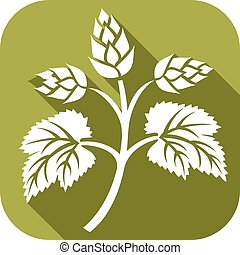 hops leaf flat icon (hops plant, hop symbol, hop leaves, hop...