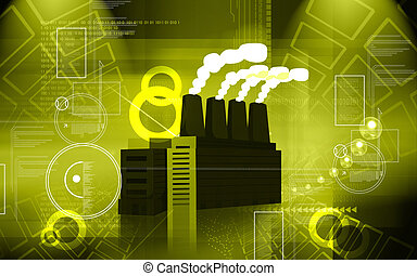 Factory - Illustration of a factory emitting smoke